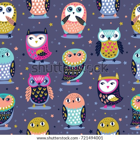 Cute seamless pattern with owls and stars in night colors. Vector illustration