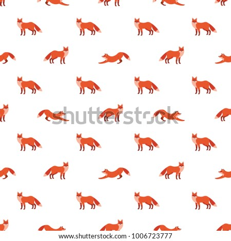 Cute seamless pattern with red foxes. Vector illustration for decoration for textile, notebooks, wallpapers etc