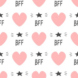 Cute seamless pattern with repeating hearts and text BFF and stars. Endless print for girls. Girly vector illustration.