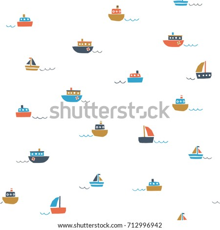 Cute seamless pattern with small color ships