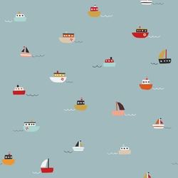 Cute seamless pattern with small ships