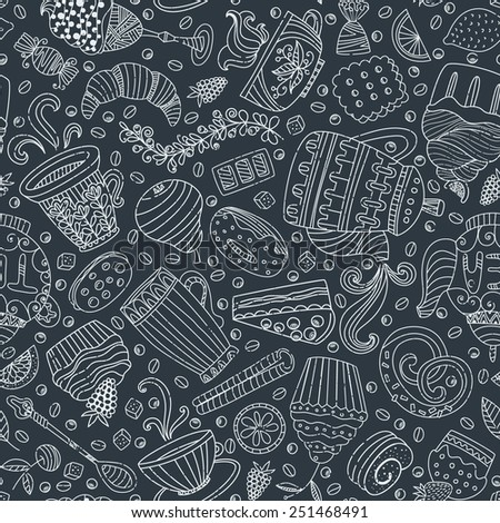 Cute seamless pattern with sweets and desserts cupcake ice cream teapot Doodle style vector Baked goods restaurant menu and tea party background