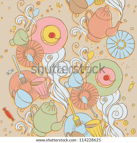 Cute seamless pattern with tableware