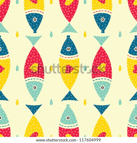 Cute seamless pattern with the fishes. Seamless pattern can be used for wallpaper, pattern fills, web page background, surface textures.