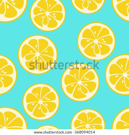 Cute seamless pattern with yellow lemon slices. Tasty summer background. Yummy tropical fruits endless texture. Can be used for wallpaper, banner, poster. Delicious healthy fruits. Vector illustration