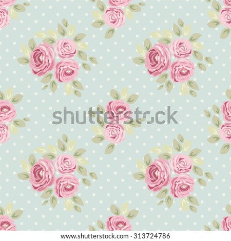 Cute seamless Shabby Chic pattern with roses and polka dots ideal for kitchen textile or bed linen fabric, curtains or interior wallpaper design, can be used for scrap booking paper etc