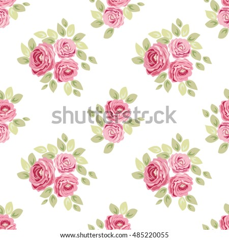 Cute seamless Shabby Chic pattern with roses ideal for kitchen textile or bed linen fabric, curtains or interior wallpaper design, can be used for scrap booking paper etc