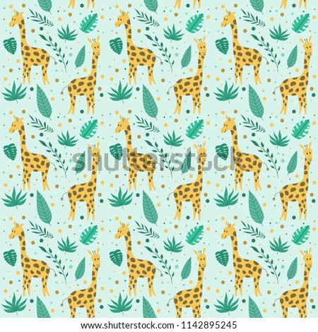 Cute seamless summer pattern with giraffe and flowers. Childish vector pattern with lovely animal in cartoon style. Texture for textile, wrapping.