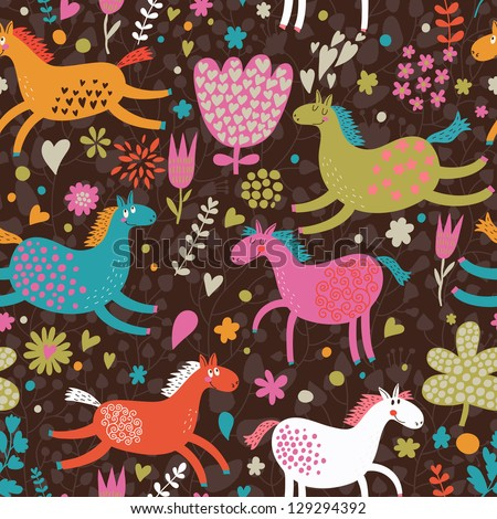 Cute seamless texture with funny horses in flowers. Vector pattern for web-design, textile, graphic design.