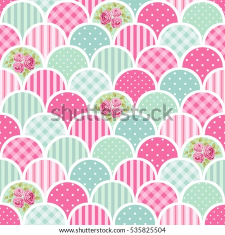 Cute seamless vintage pattern as patchwork in shabby chic style ideal for kitchen textile or bed linen fabric, curtains or interior wallpaper design, can be used for scrap booking paper etc