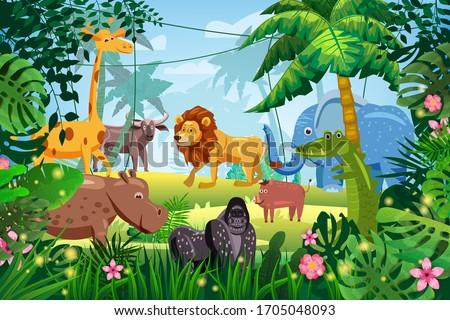 Cute Set Animals in Jungle tropical rainforest background landscape. Lion, giraffe, gorilla, hippo, elefant, buffolo, crocodile, warthog pig. Palm trees exotic flora flowers. Vector isolated cartoon