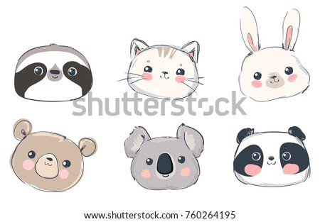 Cute Set Animals Vector Illustration, Bear, Cat, Bunny, Koala, Sloth, Panda