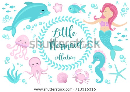 Cute set Little mermaid and underwater world. Fairytale princess mermaid and dolphin, octopus, seahorse, fish, jellyfish. Under water in the sea mythical marine collection.
