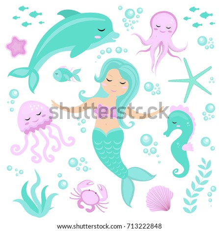 cute set little mermaid and