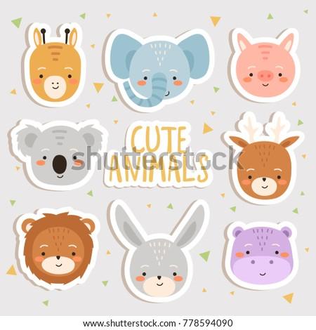 cute set of cartoon animals stickers. cute giraffe, elephant, pig, koala, deer, lion, bunny and hippo stockers
