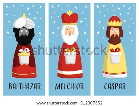 Cute set of Christmas greeting cards, gift tags with three magi. Biblical kings Caspar, Melchior and Balthazar. Flat design, vector illustration background.