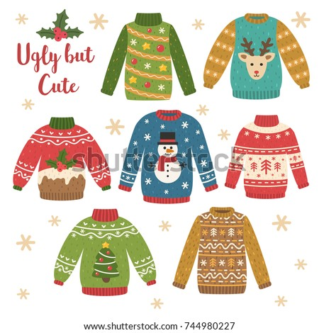 Cute set of Christmas sweaters. Traditional knitted clothes with different prints: decorations, cake, deer, snowman, tree, ornament