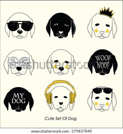 cute set of dog illustration