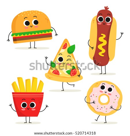 Cute set of five cartoon fast food characters isolated on white: burger, hot dog, pizza slice, french fries and donut