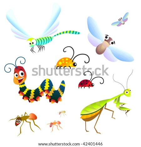 cute set of forest insects