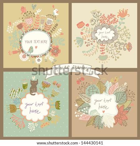 cute set of four floral