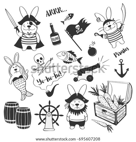 cute set of hares of pirates on