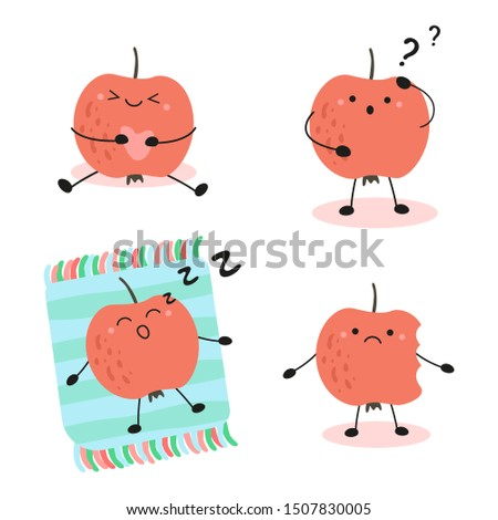 cute set of kawaii apples. an apple in different situations: sleeping, thinking, upset, dreaming. vector illustration