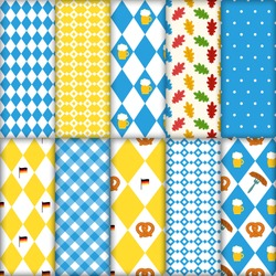 Cute set of seamless traditional Octoberfest patterns. Pretzels beer sausage lined up seamless vector illustration pattern. Blue and white checkered background. Perfect for Oktoberfest