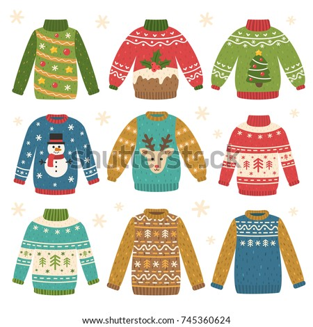 Cute set of ugly Christmas sweaters. Vector illustrations. Funny traditional knitted clothes with different prints: deer, cake, snowman, Christmas tree