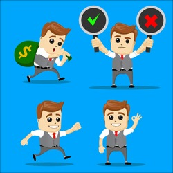 Cute Set - Set of businessman. Vector cartoon illustration - Businessman set. Manager character with choice Yes or No. Manager character running. Manager character with money bag on his back.