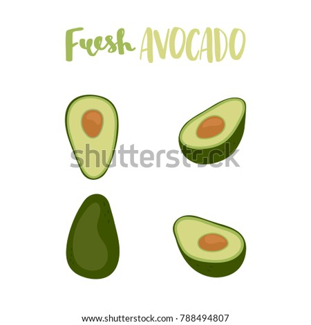 Cute set with cartoon half avocado and whole of fresh avocado. Flat vector illustration avocados isolated on white background.
