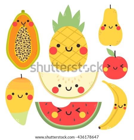 cute set with cartoon mango