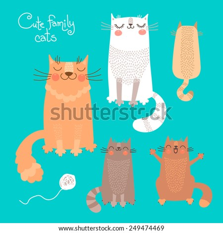 Cute set with cats and kittens Vector illustration