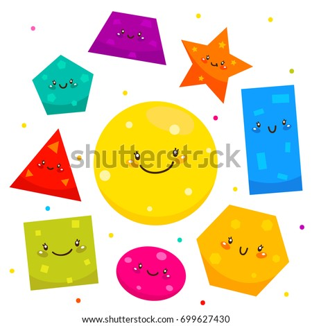 Cute shapes: square, circle, ellipse, triangle, pentagon, hexagon, rectangle, star, trapezoid, cartoon characters, isolated objects on white background, set, collection, children's illustration.