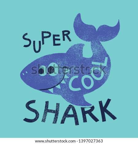 cute shark drawn for print as vector