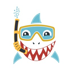 Cute shark illustration with diving equipment cartoon vector illustration on white background