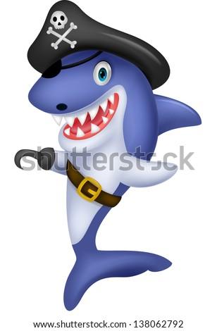 cute shark pirate cartoon