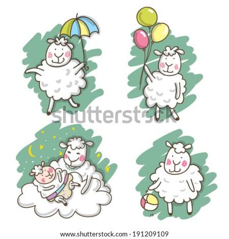 Cute sheep. Cute Lamb. Happy animals. Mom and baby. Set of animals. Baby sheep.