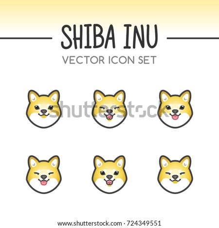 Cute Shiba Inu Dog Breed Vector Icon Sticker Set done in Kawaii Japanese Anime Style. May be used as emoticons, emojis and costume masks. Fixed line weight.