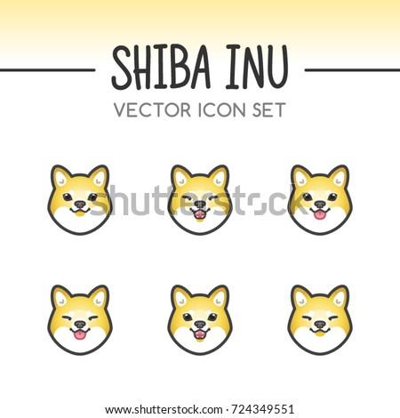 cute shiba inu dog breed vector