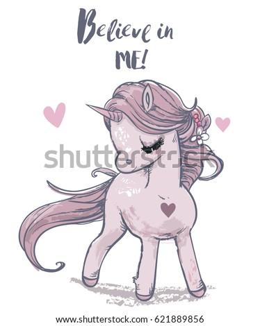 cute shy pink unicorn