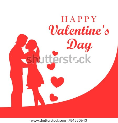 Cute silhouette vector illustration of a boy and a girl would like to kiss. Happy Valentine's day card. #784380643