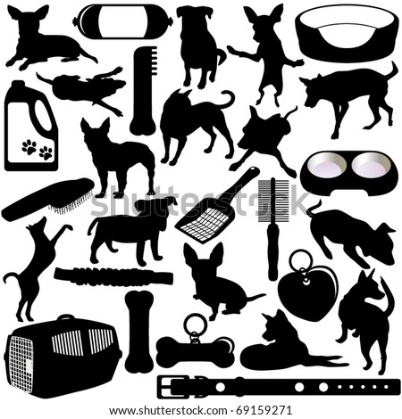 Cute Silhouettes vector Icons collection as design elements, a set of Dogs, Puppies and Accessories in different actions