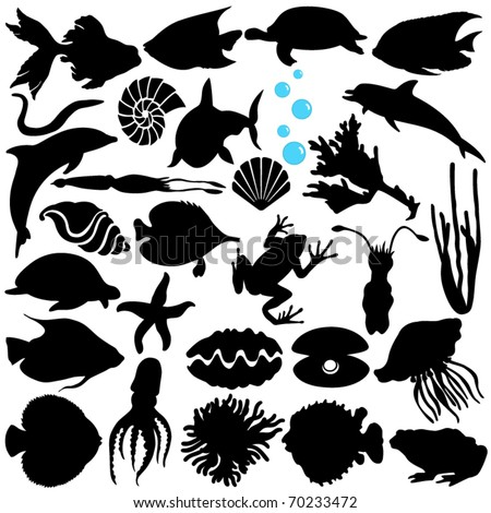 Cute Silhouettes vector Icons collection as design elements, a set of Fish, Sealife, Marine life, seafood isolated on white