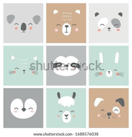 Cute simple animal faces portraits - hare, bear, sloth, cat, koala, alpaca, llama, panda, penguin, dog. Designs for baby clothes. Hand drawn characters. Vector illustration.