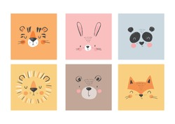 Cute simple animal portraits - hare, tiger, bear, fox, panda, lion. Great for designing baby clothes.