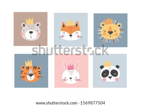 cute simple animal portraits