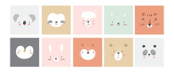 Cute simple animal portraits - hare, tiger, bear, sloth, cat, koala, fox, alpaca, panda, penguin. Great for designing baby clothes.