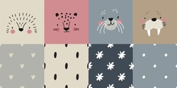 Cute simple animal portraits - hedgehog, jaguar, walrus, seal. Great for designing baby clothes. Vector illustration and seamless pattern