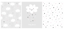 Cute Simple Baby Shower Vector Card and 2 Patterns.White Fluffy Smiling Cloud on a Light Gray Background.Rain of Hearts. Baby Shower Design for Card, Invitation, Wrappig Paper, Textile. Heart Pattern.
